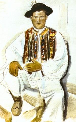 Легінь, що сидить, 1936, пап.акв.перо., 43,5х35