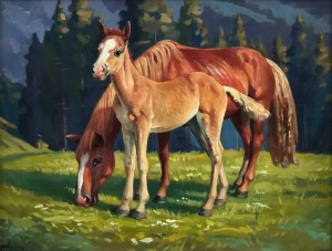 'A Horse With Mother', 2015, oil on cardboard, 50x65'