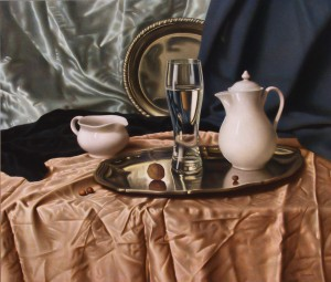 A Glass On The Tray, oil, masonite, gesso ground, 61x73