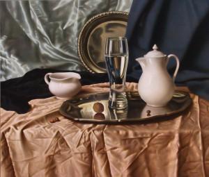 Склянка на таці, орг.о.левкас, 61х73