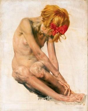 Дівчина з червоним бантиком, п.о., 50х39,5