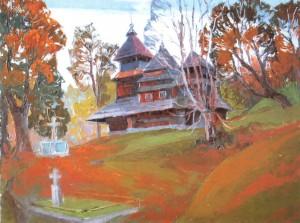 Church in the village of Kostryno oil on fibreboard