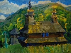 Sunny Day At The Church In Bukivtseve Village', oil on canvas, 60x80