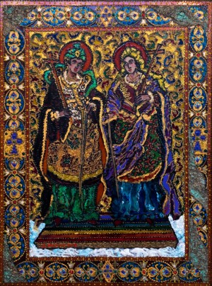 Anastasiia and Iulianiia, 2016, glass, paint on glass, authors technique