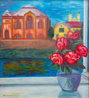 'Peonies In A Window On The Waterfront', 2018, oil on masonite, 61x55