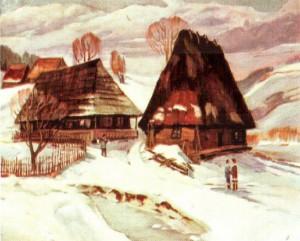 Деревяні хати в с.Розтока (Воловецький р-н), 1981, 60х70