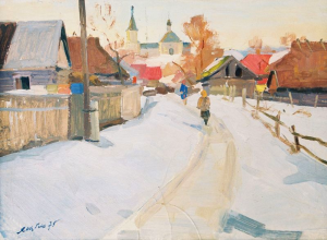 Evening On Sednivska Street, 1975, oil on cardboard, 49,5х67