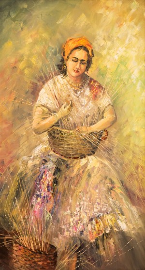T. Yonash 'A Romany Woman Weaving Baskets'
