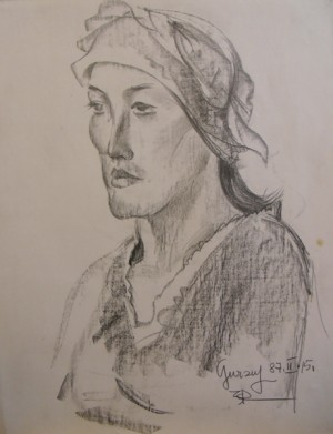 'Portrait Of A Woman In A Scarf', 1987, pencil on paper, 63x49