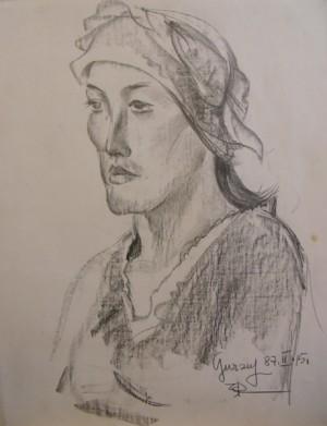 'Портрет жінки в хустці', 1987, пап.ол., 63х49