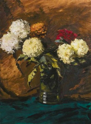 Still Life With Chrysanthemums, second quarter of the 20th century, oil on cardboard, 66x49