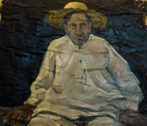 Portrait Of Grandfather Yura, Dulovo Village, 1958, oil on paper, 54х62,5