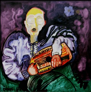 Blind Musician, from the photo archive of Y. Nebesnyk, 1995, oil on canvas, 100x100