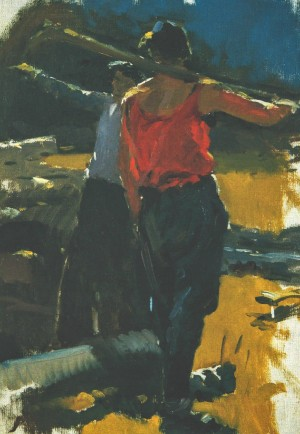 A Sketch To The Painting Fellers, 1952, oil on canvas, 59х42