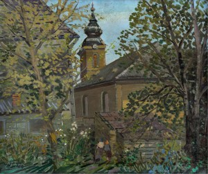 Church In Shoshkut Village, the 1970s, oil on canvas, 59x70