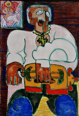 A Blind Man, from the photo archive of Y. Nebesnyk, 1964, tempera on canvas, 101x69,