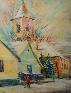 Church Of Saint Laszlo In Winter, the 1990s, oil on canvas