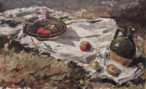Still Life, 1961, oil on cardboard, 31x50