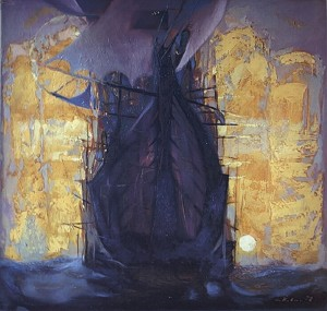 Ship Is Floating, 1998, oil on cardboard, 70x60