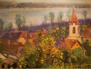 Church Of Saint Laszlo From Far Away, 1990s, oil on canvas
