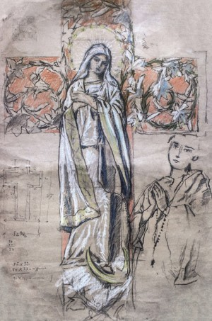The Image Of The Blessed Virgin Mary (sketch), 1930s, pastel on paper, 83x54,5