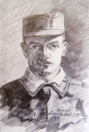 Автопортрет у військовій формі (Джекс) (1916.02.14). Приватна колекція