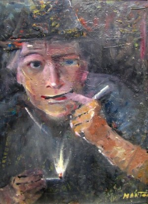 Man With Pipe, oil on sololit, 60x40
