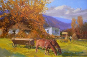 Landscape With Horses, 2006, oil on canvas, 60x90