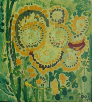 Sunflowers, from the photo archive of Y. Nebesnyk, 1995, oil on canvas, 100x91