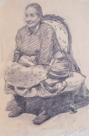 Grandmother, 1954, oil on paper,39,8х28,8
