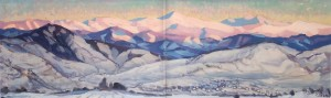 Morning Beskid Mountains, 1988, oil on canvas, 47x159.5