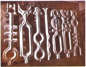 Composition, wood, carving, 1986, 110x60