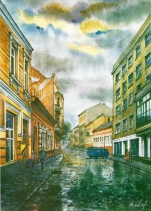 Dukhnovych street 1998 watercolour