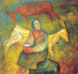 With A Goat, 1999, oil on canvas, 80x90