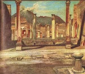 Pompeii House of a Surgeon on the Vesuvius Background 1897-1898