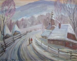 Зима в с. Канора, 1978, п.о., 65х80