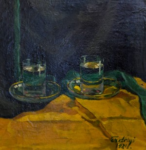A Glass of Water, 1921, oil on canvas, 45х43