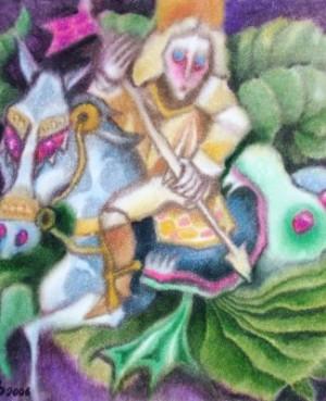 Святий Георгій і дракон, пап.акв., 70х70