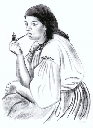 A Miller With Pipe, 1937, lithography on paper, 41,2х32