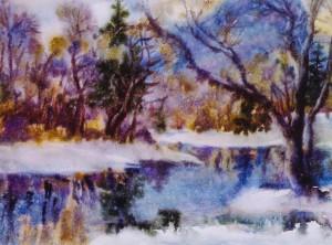 Зимовий пейзаж, 2004, к.акв., 41х59