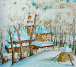 Winter In Podobovets Village, 2009, watercolour on watman, 50х62