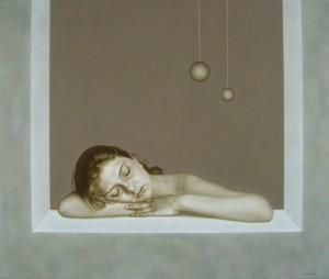 A Dream, oil, masonite, gesso groud, 81x99