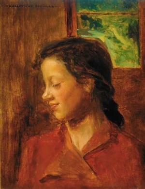 Дівчина перед вікном