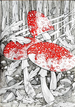 'Маруся', 2010, пап.туш, перо, гел.ручка, 83х30