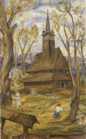 A Wooden Church, 1990, oil on canvas, 96х58,5