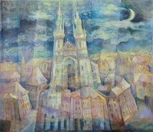 Прага в місячному сяйві, 2017, п., акр., 60х70