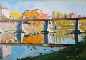 Pedestrian Bridge In Uzhhorod, 1959, oil on canvas, 68x97