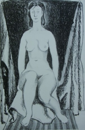 'Sitting. Nude', 1962, litography on paper, 44x29