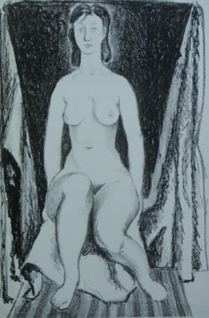 'Сидяча. Оголена', 1962, пап.літографія, 44х29