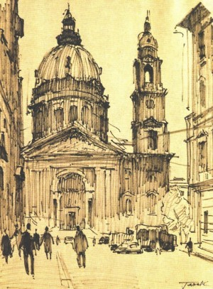 Budapest. Cathedral, 1971, marker on paper, 35х28